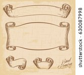 hand drawing old ribbons set... | Shutterstock .eps vector #630087998