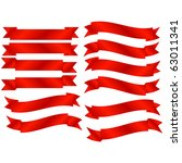 raster set of 12 red banners | Shutterstock . vector #63011341