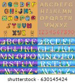 vintage and travel alphabets.... | Shutterstock . vector #630145424