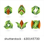 flat leaves icons. vector... | Shutterstock .eps vector #630145730
