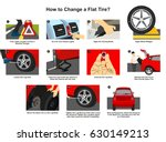 how to change a flat tire... | Shutterstock .eps vector #630149213