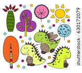 set of cute isolated dinosaurs... | Shutterstock .eps vector #630172079
