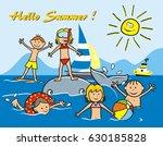 children on the beach  postcard ... | Shutterstock .eps vector #630185828