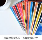 stack of fiction books with a... | Shutterstock . vector #630193079