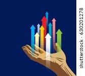 human hand push the business... | Shutterstock .eps vector #630201278