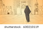 arab woman coming to mosque... | Shutterstock .eps vector #630210119