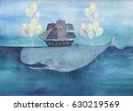 Watercolor Whale With Ship And...
