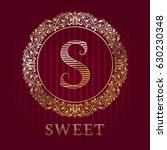 golden logo template for sweet... | Shutterstock .eps vector #630230348