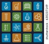 scientific icons set. set of 16 ... | Shutterstock .eps vector #630237149