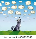 a wolf worn and eager looks at... | Shutterstock . vector #630256940