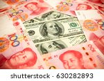 chinese yuan note and u.s.... | Shutterstock . vector #630282893