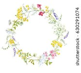 watercolor floral round wreath... | Shutterstock . vector #630291074