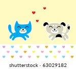Stock vector love puppy and kitten 63029182