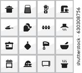 set of 16 editable food icons.... | Shutterstock .eps vector #630308756