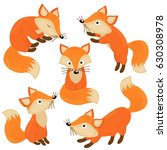 set of isolated cute foxes part ... | Shutterstock .eps vector #630308978