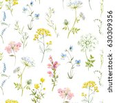 Stock photo watercolor floral pattern delicate flower wallpaper wildflowers pink tansy pansies white 630309356