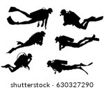 set of scuba diver silhouette