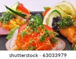 Danish open sandwiches, also known as smoerrebroed, from the shop