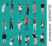 diverse of people enjoy music...   Shutterstock . vector #630344720