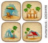 set of summer beach stickers   Shutterstock . vector #63034498