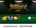 billiard table front view balls ... | Shutterstock .eps vector #630354668