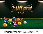 billiard table front view balls ... | Shutterstock .eps vector #630354674