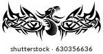 black tribal dragon tattoo... | Shutterstock .eps vector #630356636