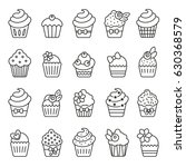 cupcake monochrome icons | Shutterstock .eps vector #630368579