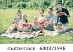cheerful parents with four kids ... | Shutterstock . vector #630371948