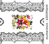 water lily with black openwork... | Shutterstock . vector #630390644