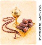 an oudh burner  prayer beads... | Shutterstock . vector #630401408