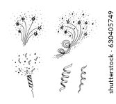 set of hand drawn  fireworks... | Shutterstock .eps vector #630405749