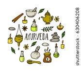 hand drawn round ayurveda... | Shutterstock .eps vector #630406208