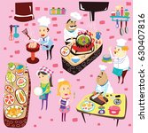 chefs cooking set. chefs with... | Shutterstock .eps vector #630407816