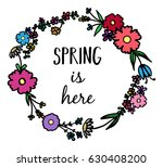 spring flower wreath  vector... | Shutterstock .eps vector #630408200