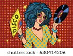 Disco Diva Retro Lady. Pop Art...