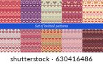set of knitted patterns  | Shutterstock .eps vector #630416486