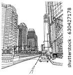 scene street illustration. hand ... | Shutterstock .eps vector #630427178
