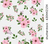 continuous pattern with flowers | Shutterstock . vector #630442154