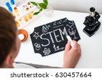 stem education. chalk on a... | Shutterstock . vector #630457664