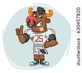 bull football player shows... | Shutterstock .eps vector #630457820