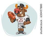 bull football player holds ball.... | Shutterstock .eps vector #630457880