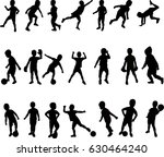 happy boy silhouette active... | Shutterstock . vector #630464240