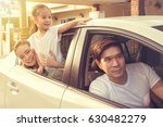 happy asian family traveling by ... | Shutterstock . vector #630482279