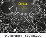 cheese top view frame. vector... | Shutterstock .eps vector #630486200