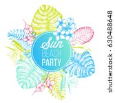 tropical palm leaves design... | Shutterstock .eps vector #630488648