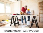 grandfather and grandson... | Shutterstock . vector #630492950