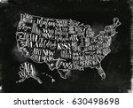 vintage usa map with states... | Shutterstock .eps vector #630498698
