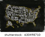 vintage usa map with states... | Shutterstock .eps vector #630498710