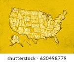 Vintage Usa Map With States...
